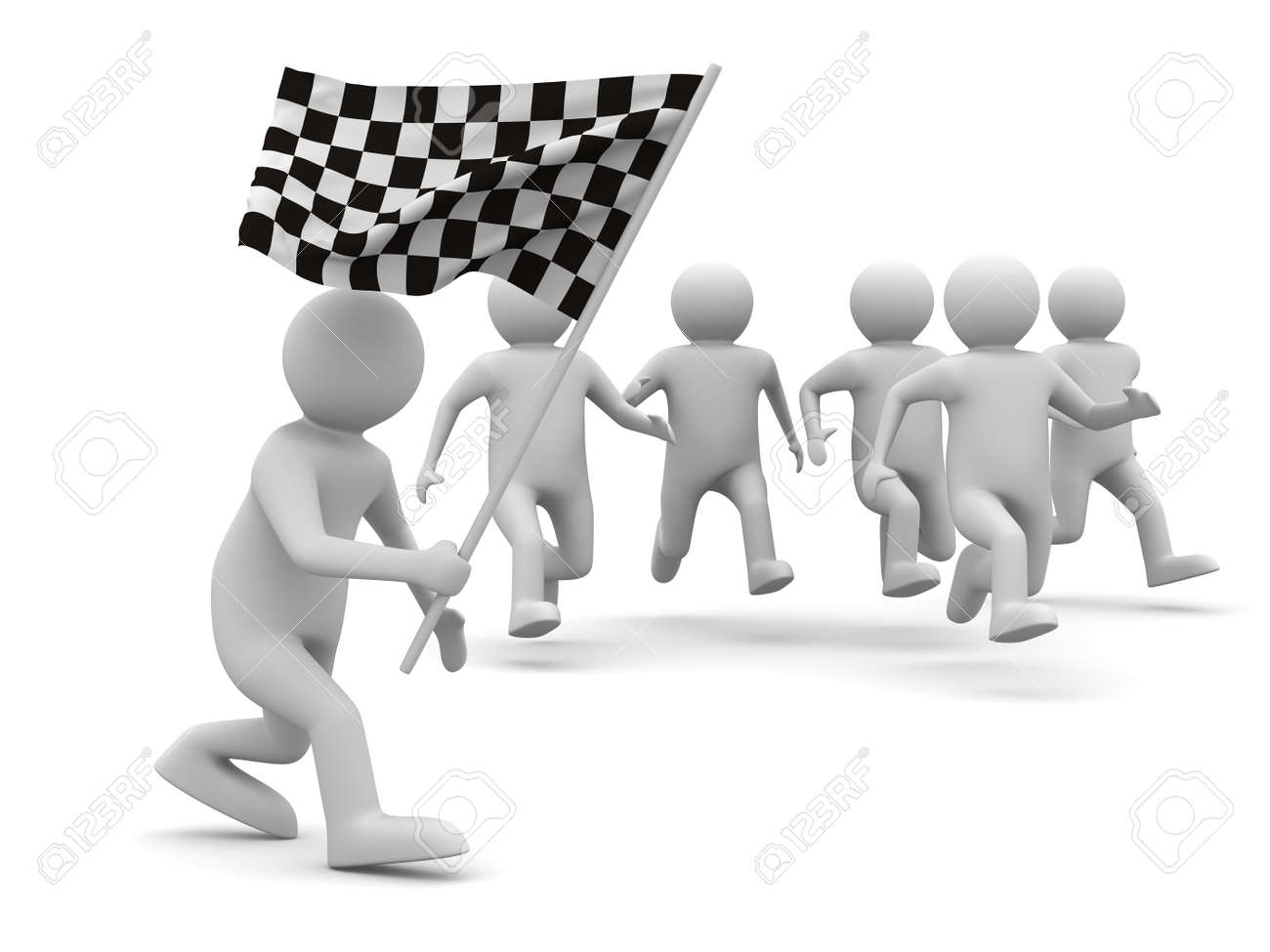 Men holding the word party concept 3d illustration stock photo - Contest Man With Flag On White Background Isolated 3d Image