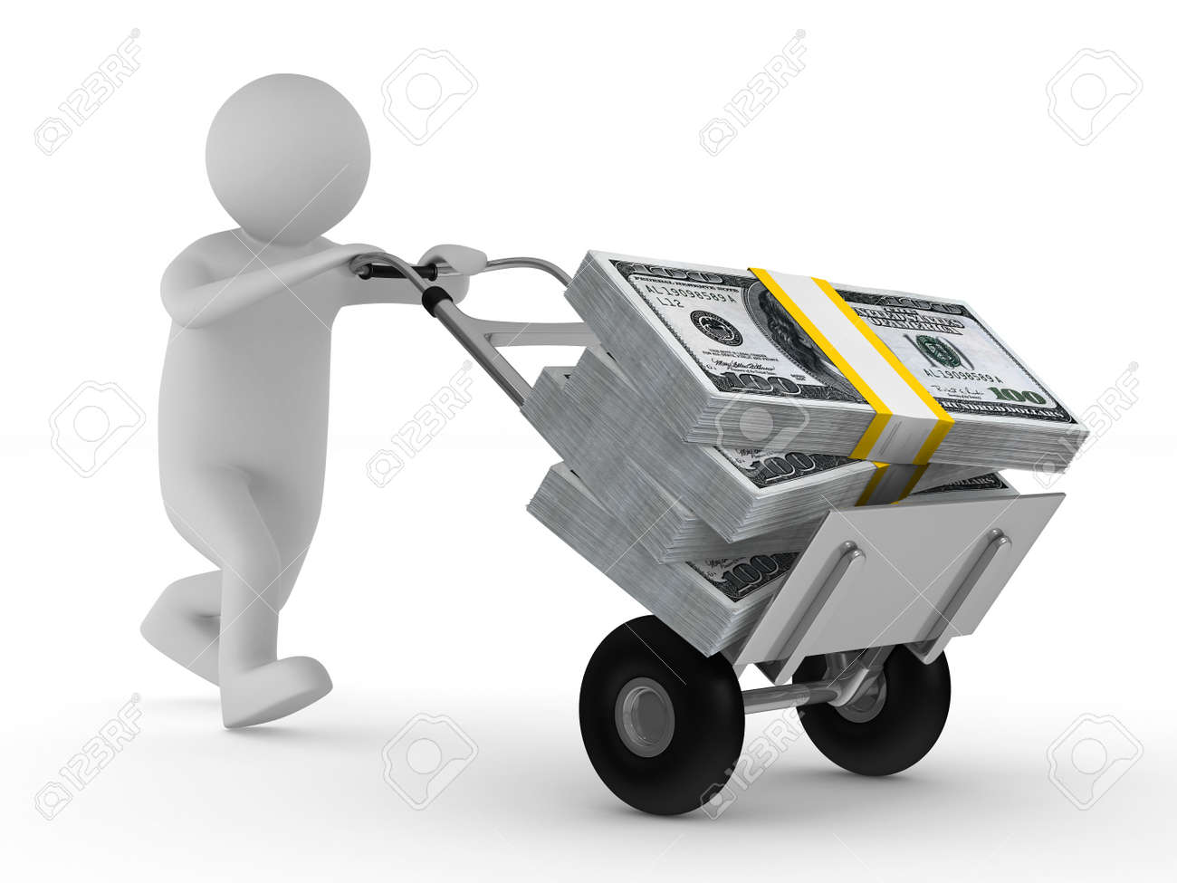 man push hand truck with dollars. Isolated 3D image Stock Photo - 9203384