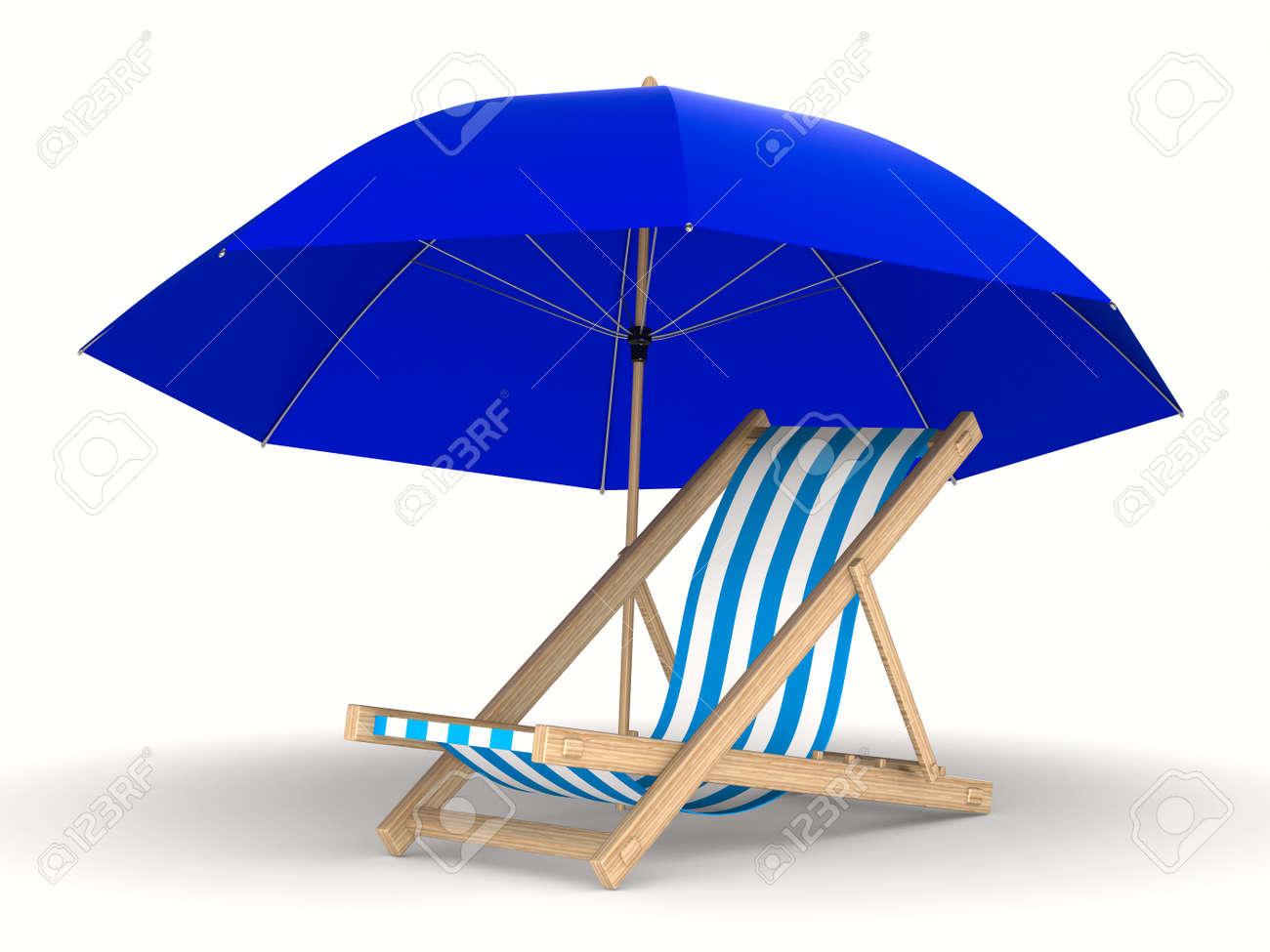 Strandstoel En Parasol.Strandstoel En Parasol Op Witte Achtergrond Gea Soleerde 3d Beeld