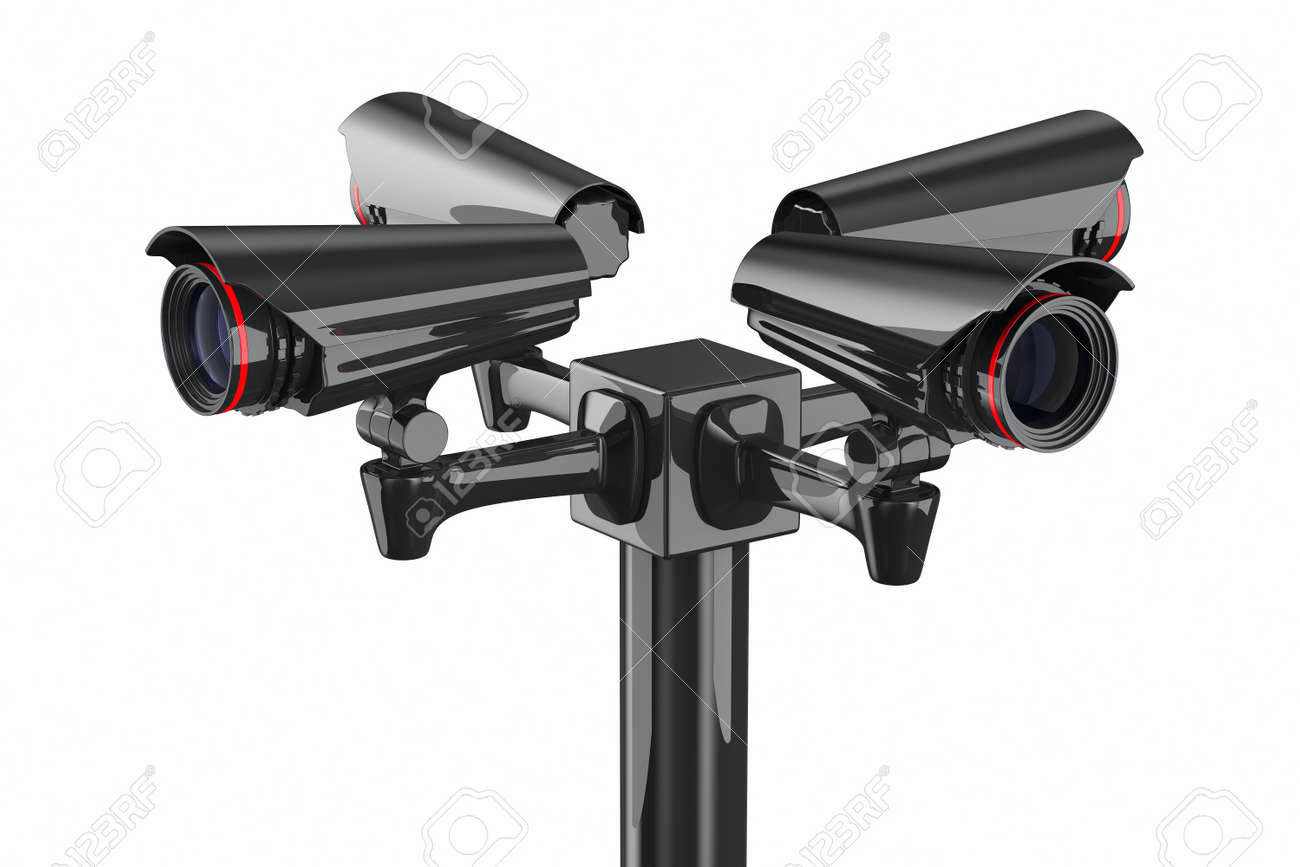 Four security camera on white background. Isolated 3D image Stock Photo - 9397418