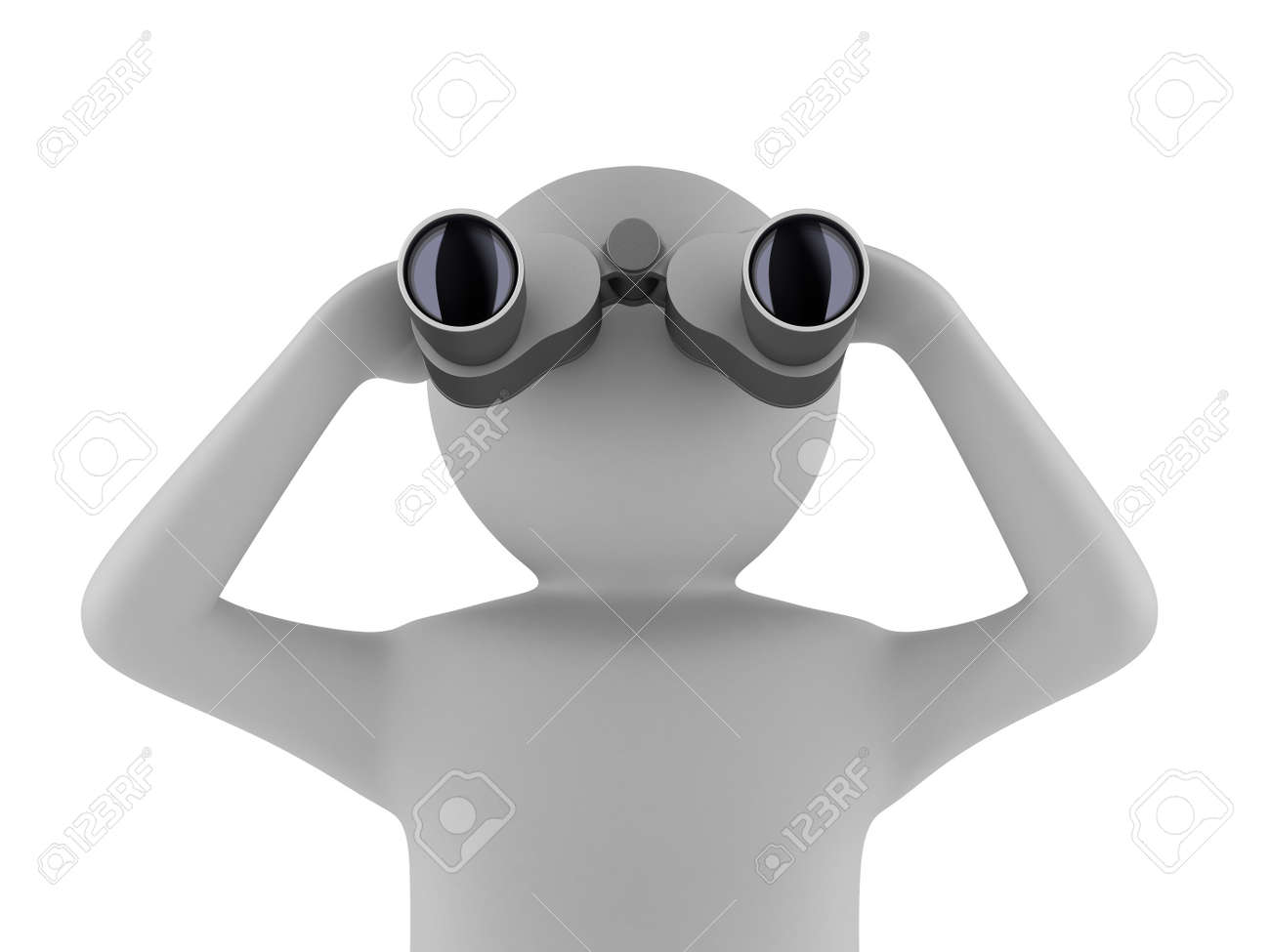 man with binocular on white background. Isolated 3d image Stock Photo - 9794069