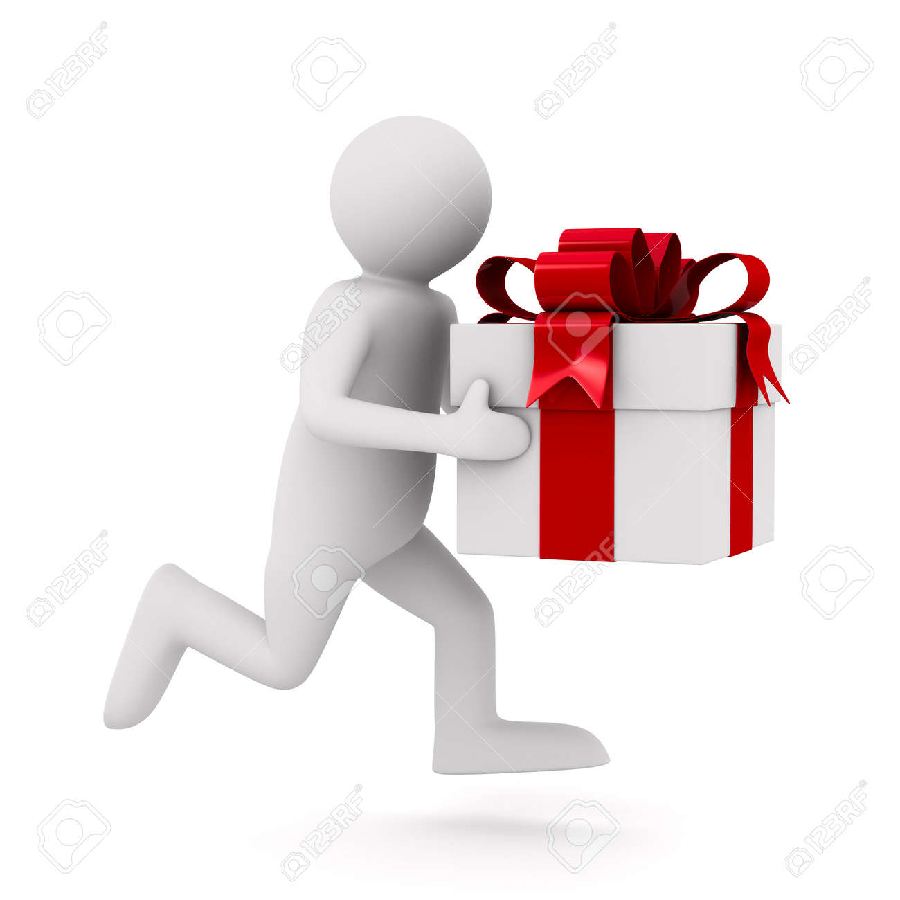 Man with white gift box. Isolated 3D image Stock Photo - 10532175