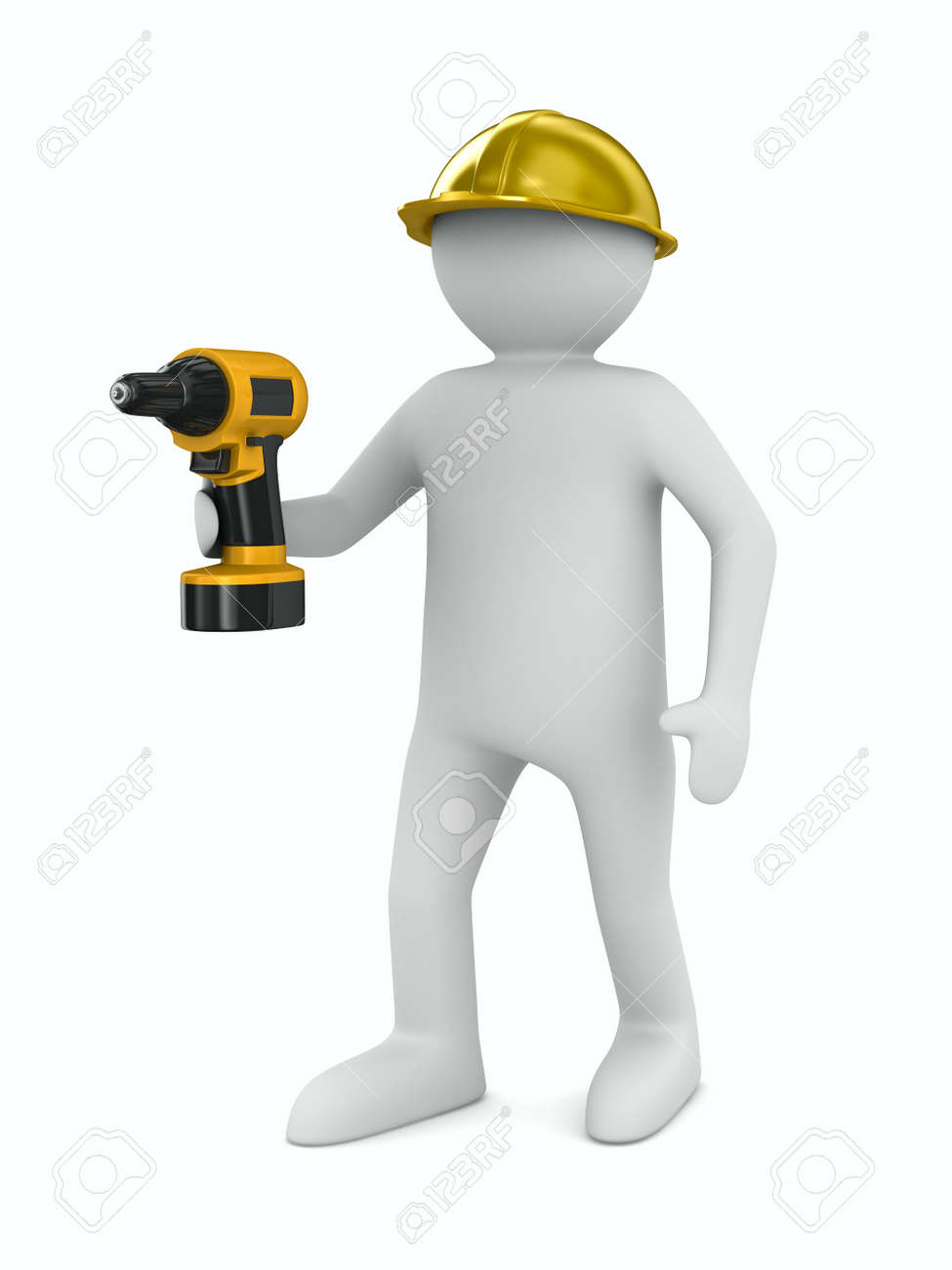 man with drill on white background. Isolated 3D image Stock Photo - 10532172