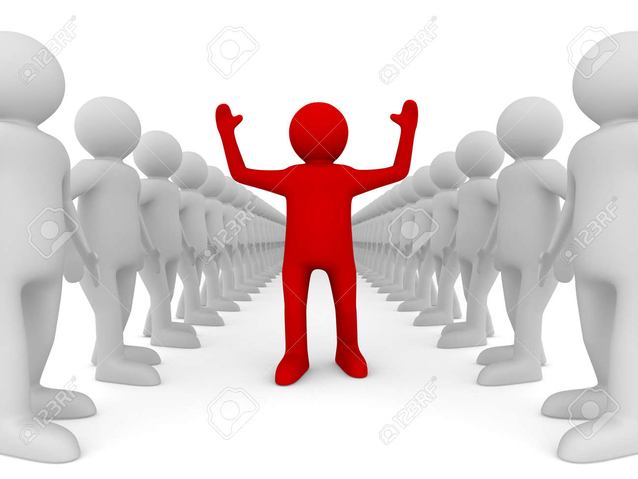Conceptual image of leadership. Isolated 3D on white - 11214496
