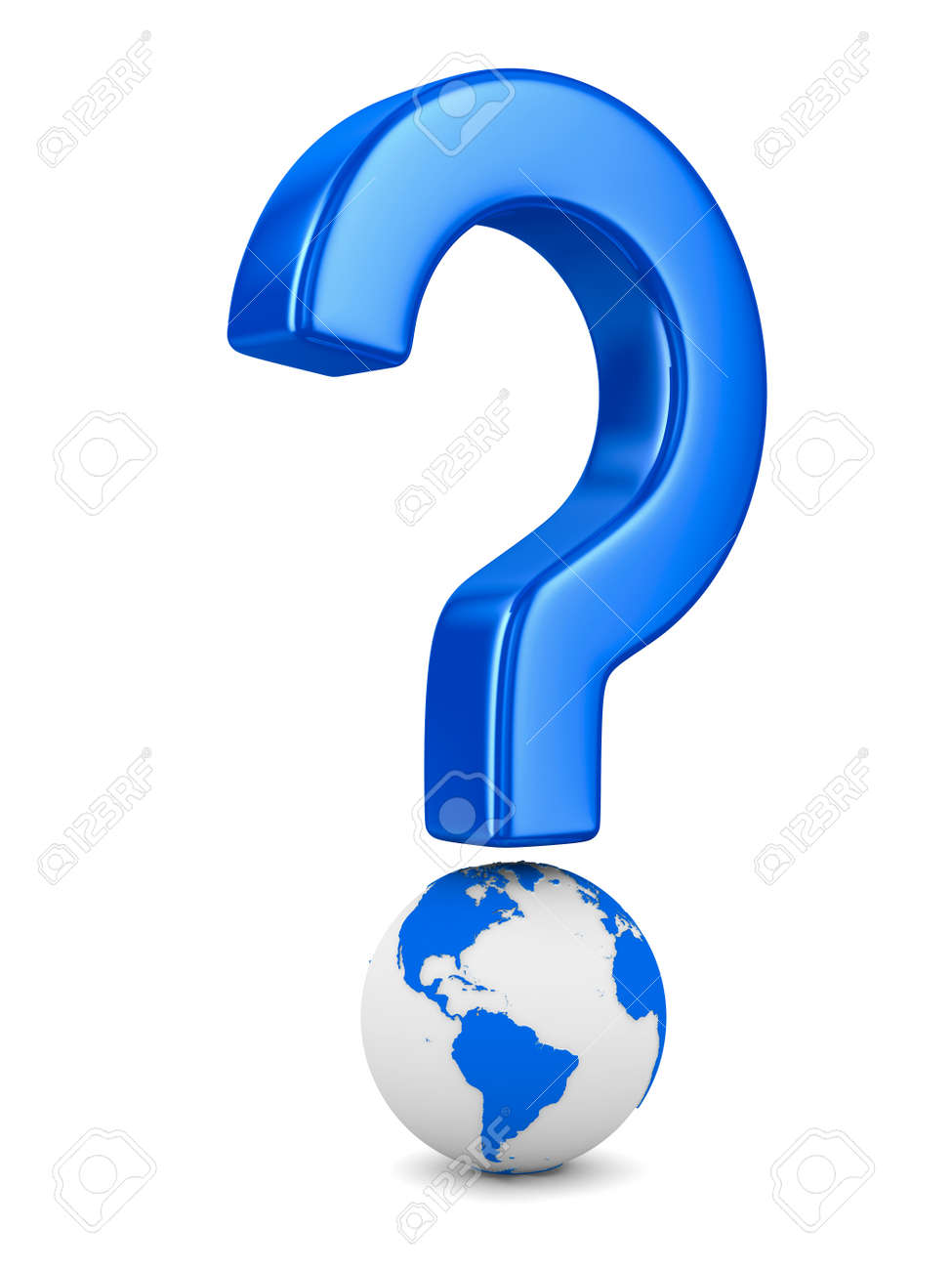 question and globe on white background. Isolated 3D image Stock Photo - 11741065
