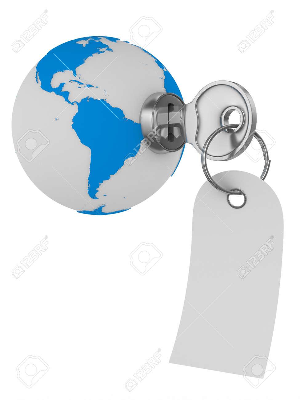 world and key on white background. Isolated 3D image Stock Photo - 11972100