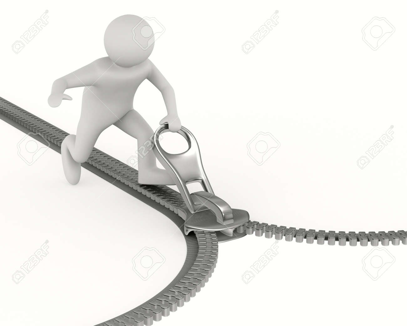 Zipper and man on white background. Isolated 3D image - 12963963
