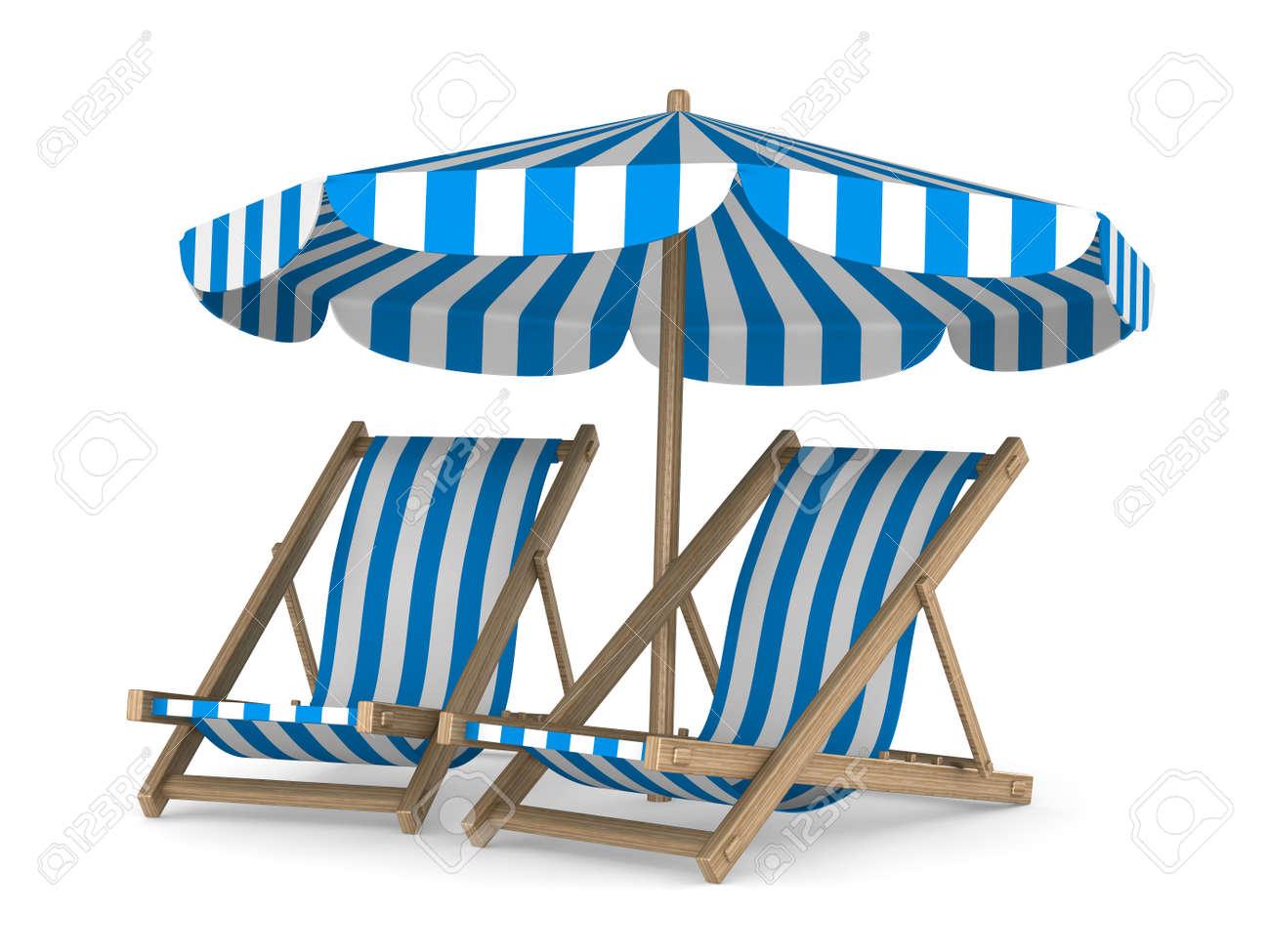 Strandstoel Met Parasol.Twee Strandstoel En Parasol Op Een Witte Achtergrond Geisoleerde 3d Beeld