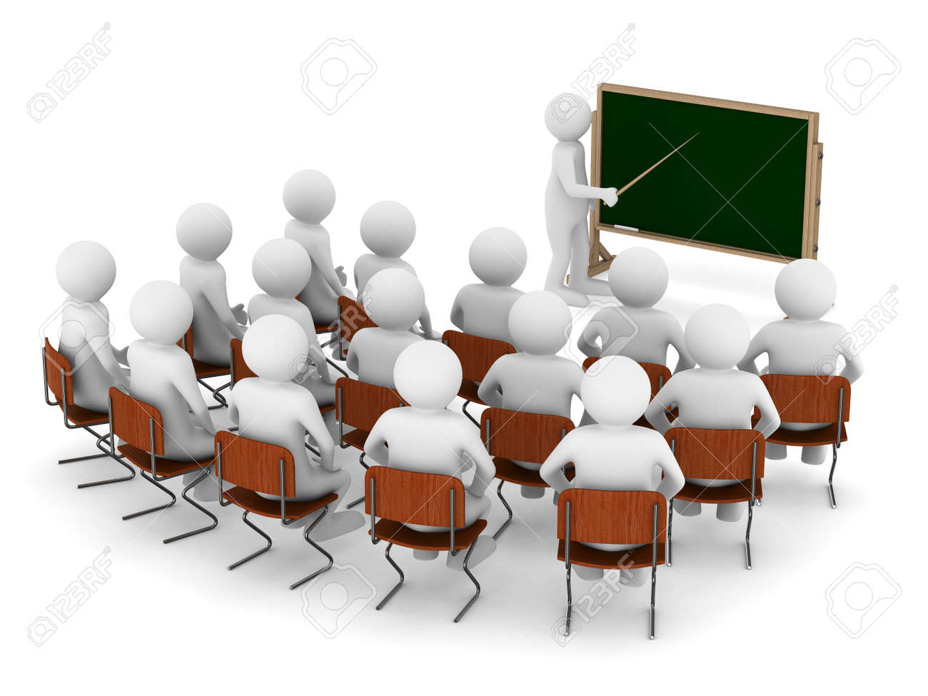 teacher with pointer at blackboard. Isolated 3D image Stock Photo - 17101683