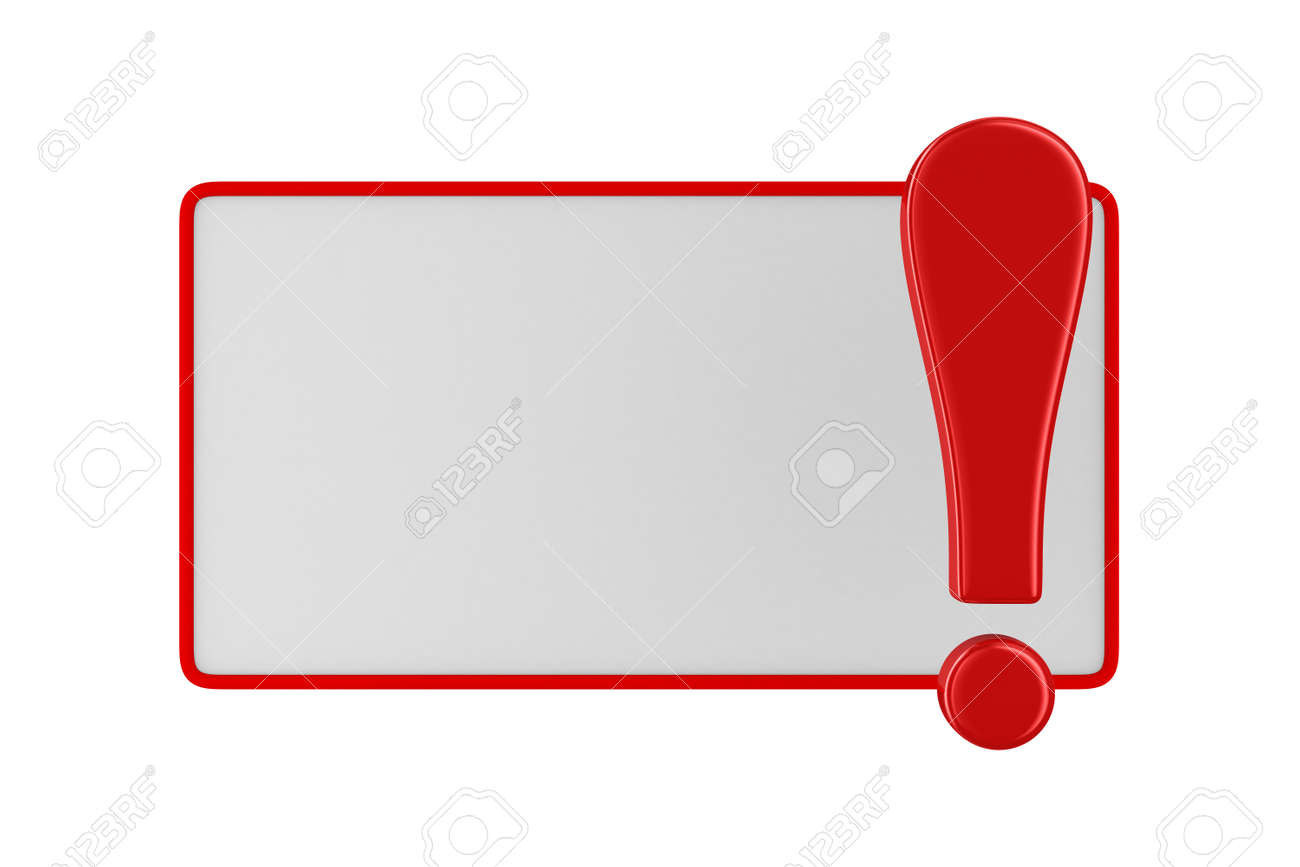 billboard with exclamation point on white. Isolated 3D image Stock Photo - 18819737