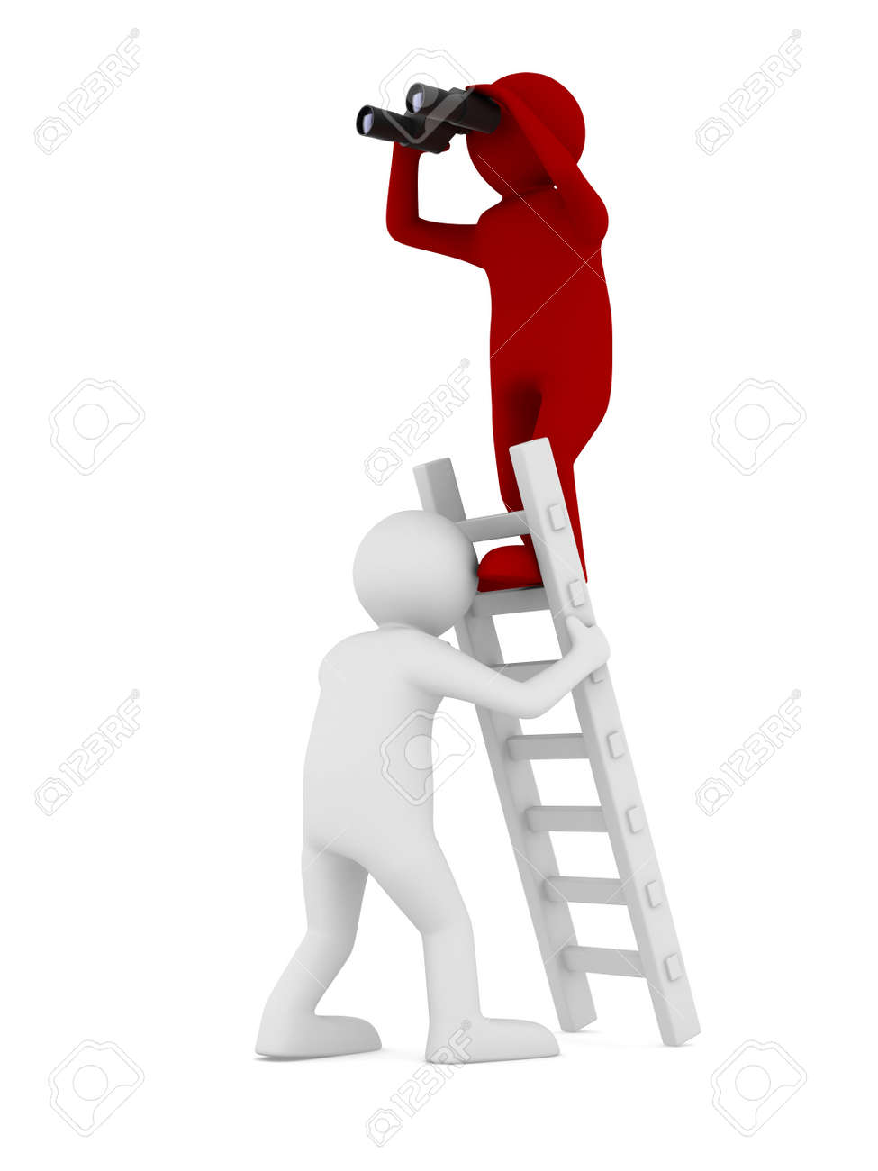 man on staircase. Isolated 3D image Stock Photo - 20847274