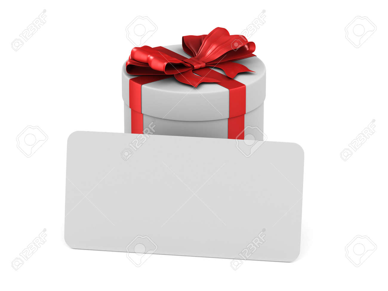 white box with red bow and label on white background. Isolated 3D illustration - 128288653