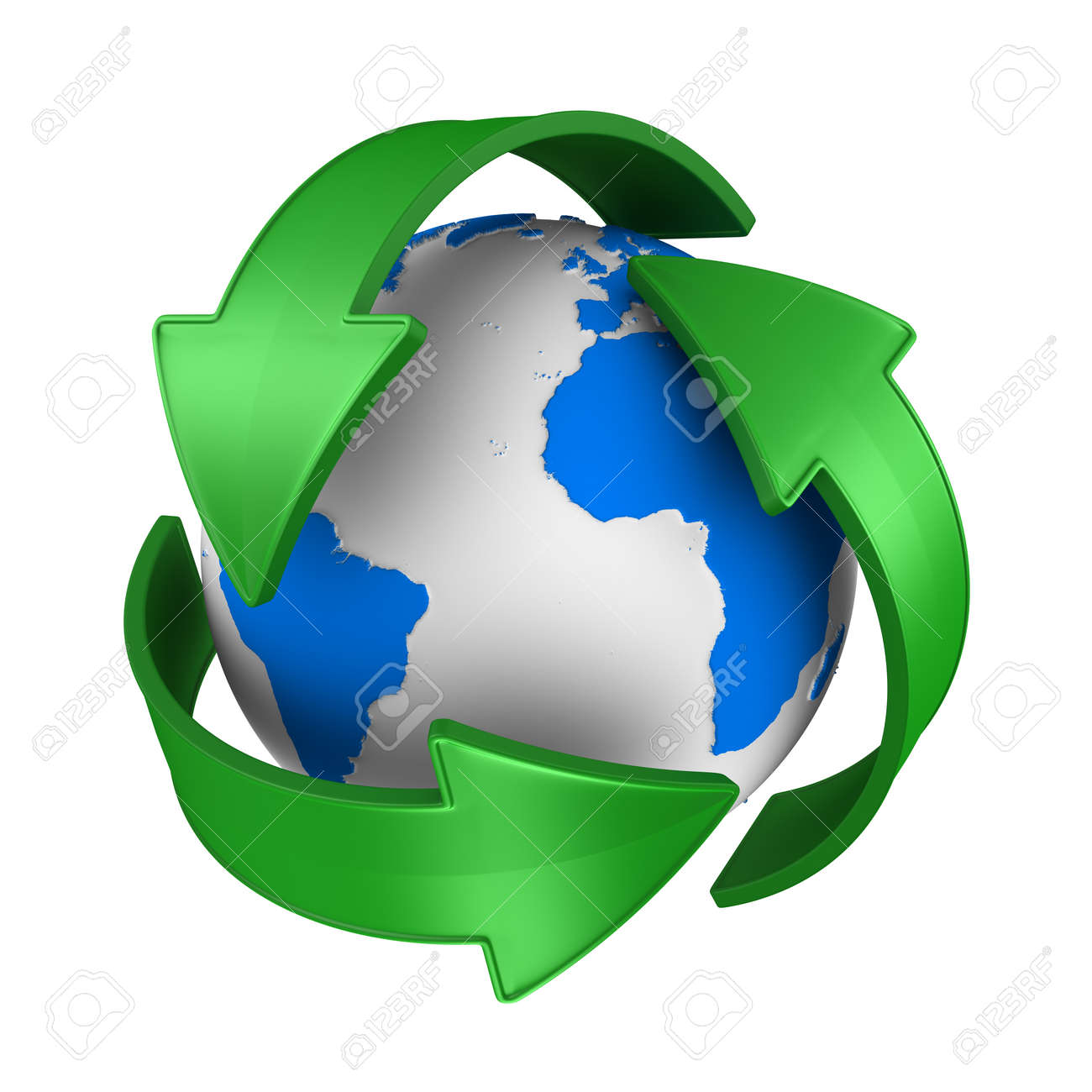 sign recycled and globe on white background. Isolated 3D illustration - 166236985