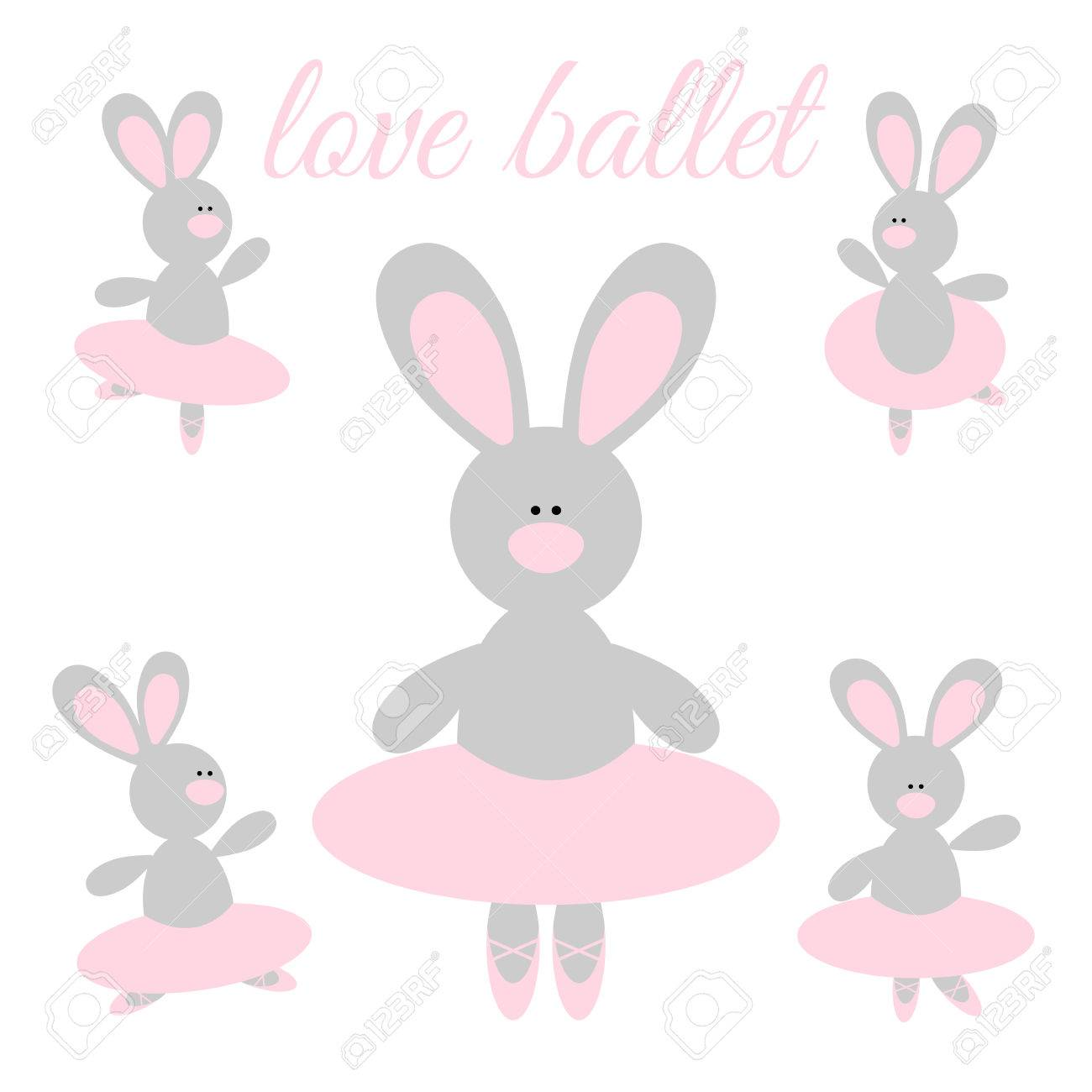 c846e8c8813f7 Cute cartoon rabbit ballerina in a pink tutu and pointes Stock Vector -  74528236