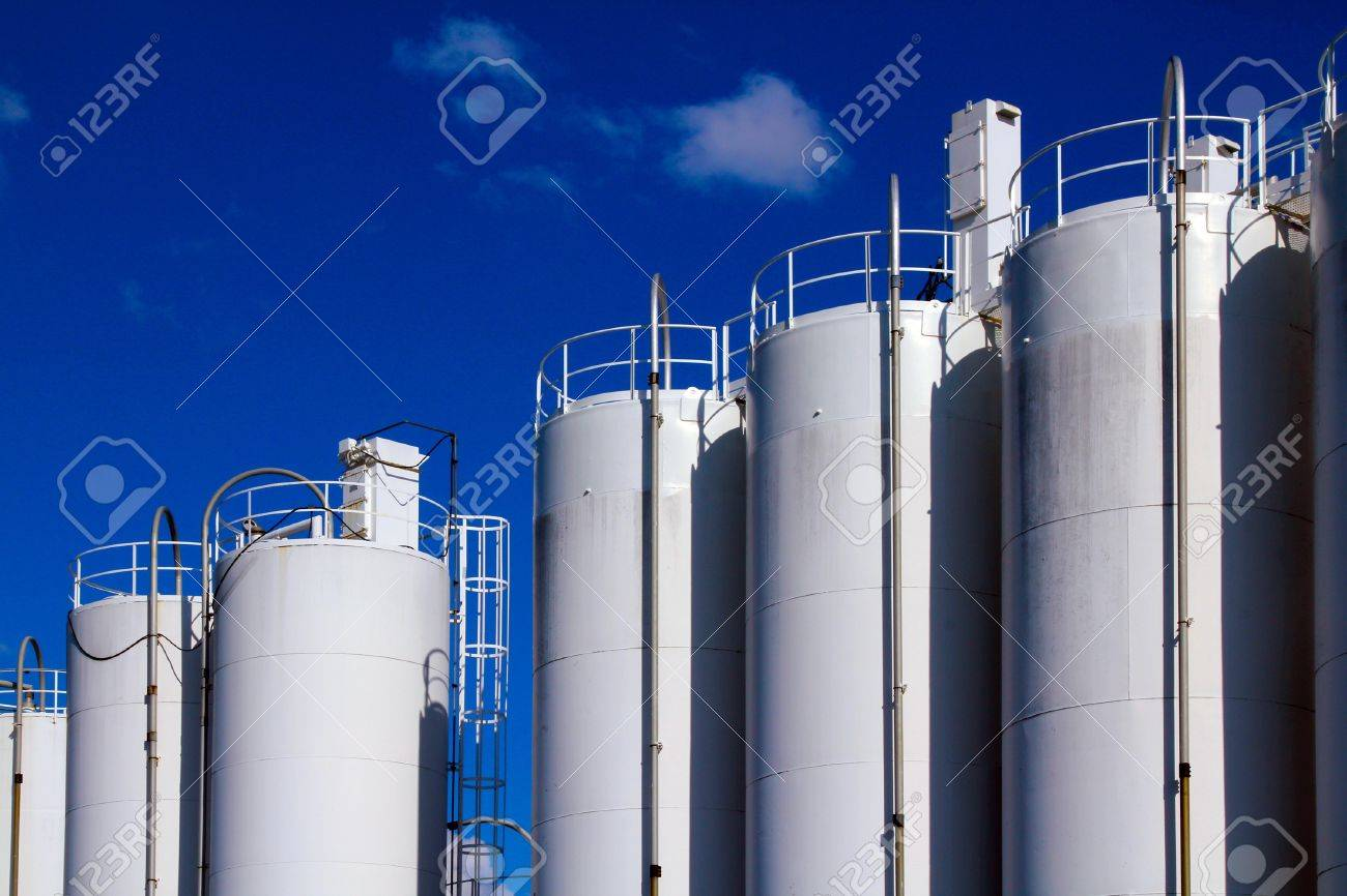 White gaz storage on the blue sky background Stock Photo - 9913423