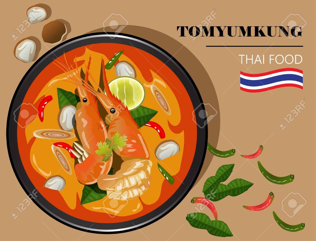 Cuisine Illustration food illustration tom yum kung thai spicy soup vector top view