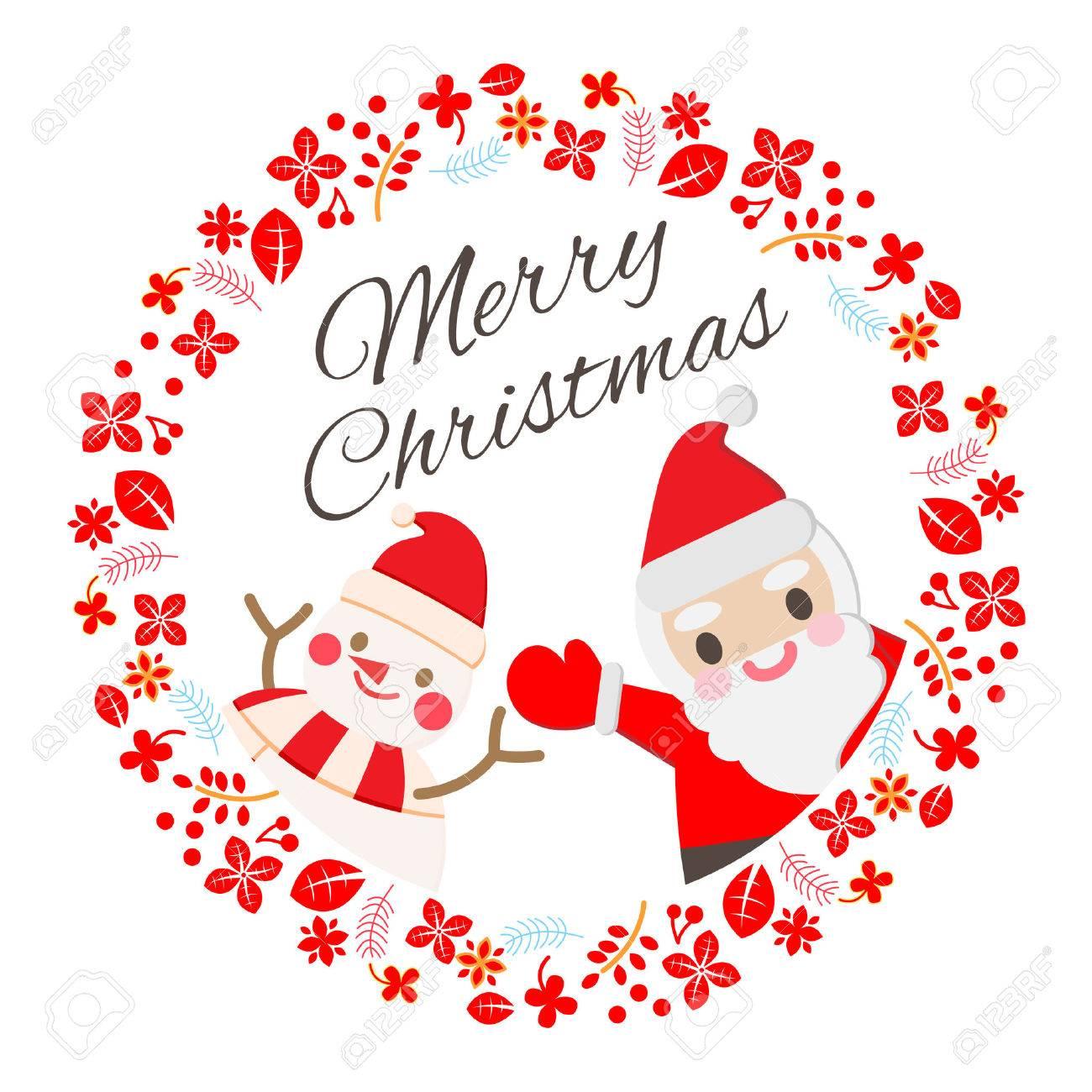 Holiday Card Greeting Xmas Sign Santa Cute Snowman Royalty