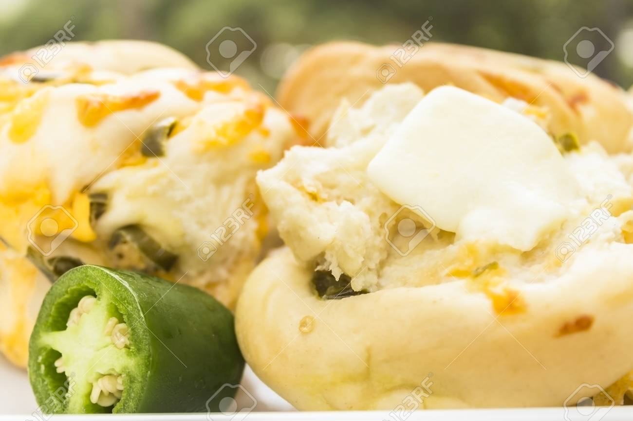 Delicious rolls made with jalapenos and cheddar cheese Stock Photo - 18619556