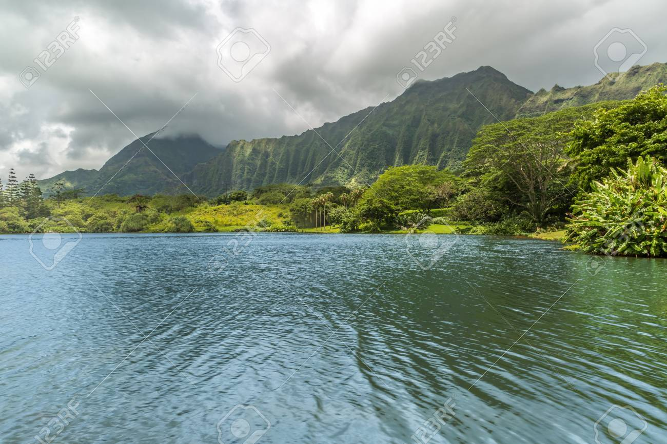 A View Of The Koolau Mountains As Seen From The Lake At Hoomaluhia Botanical  Gardens In