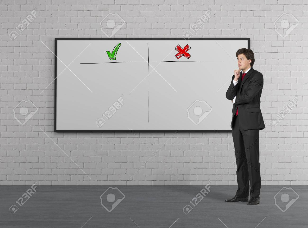 businessman thinking and placard with advantages and disadvantages