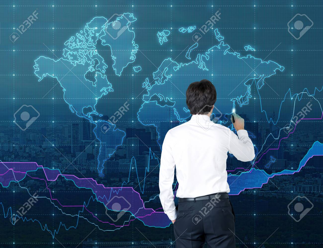 Businessman drawing world map on white concrete wall stock photo businessman drawing world map on white concrete wall stock photo 34747241 gumiabroncs Images
