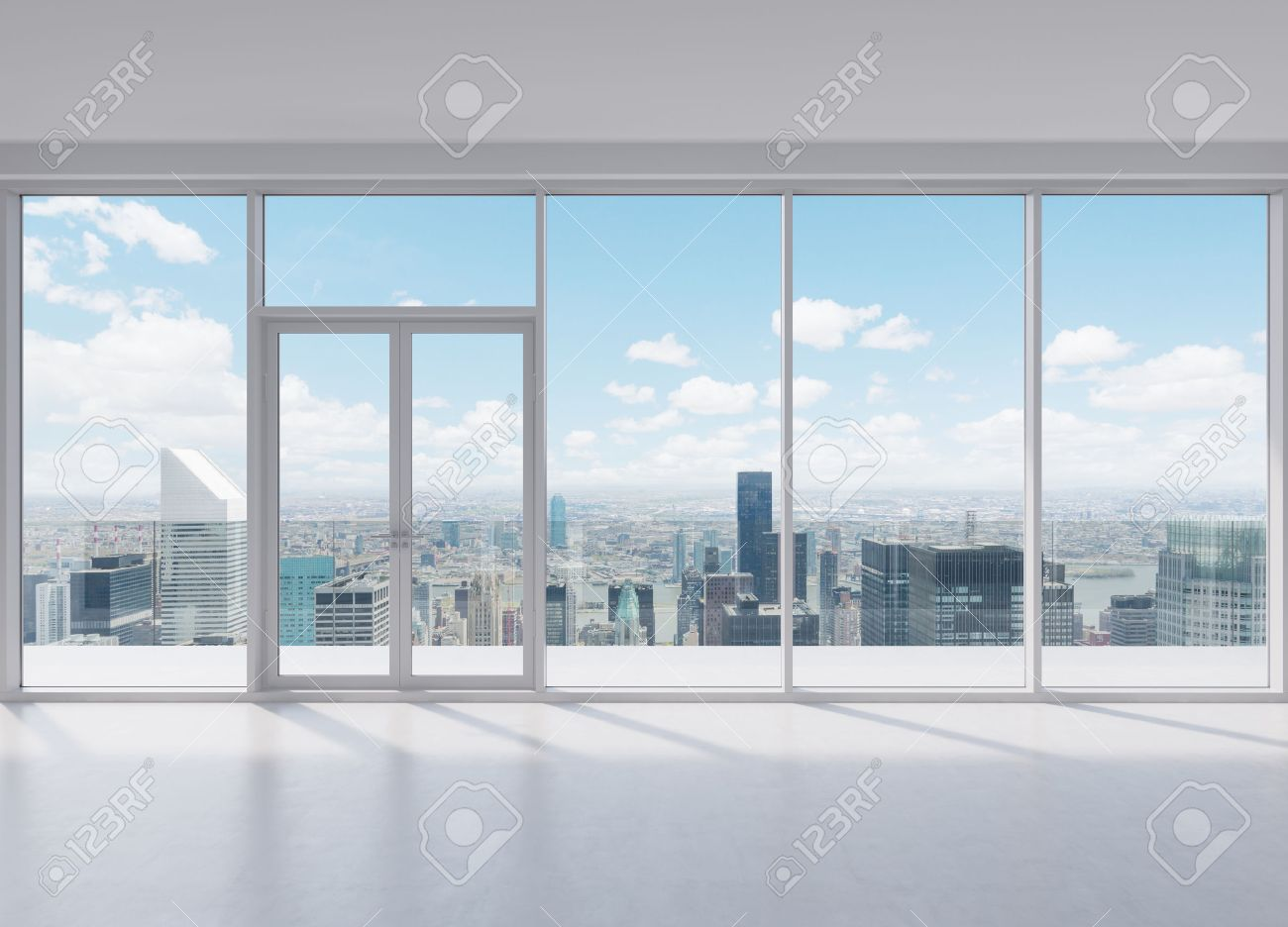 Attractive Modern Office With Big Window With View To Skyscraper Stock Photo   35605033