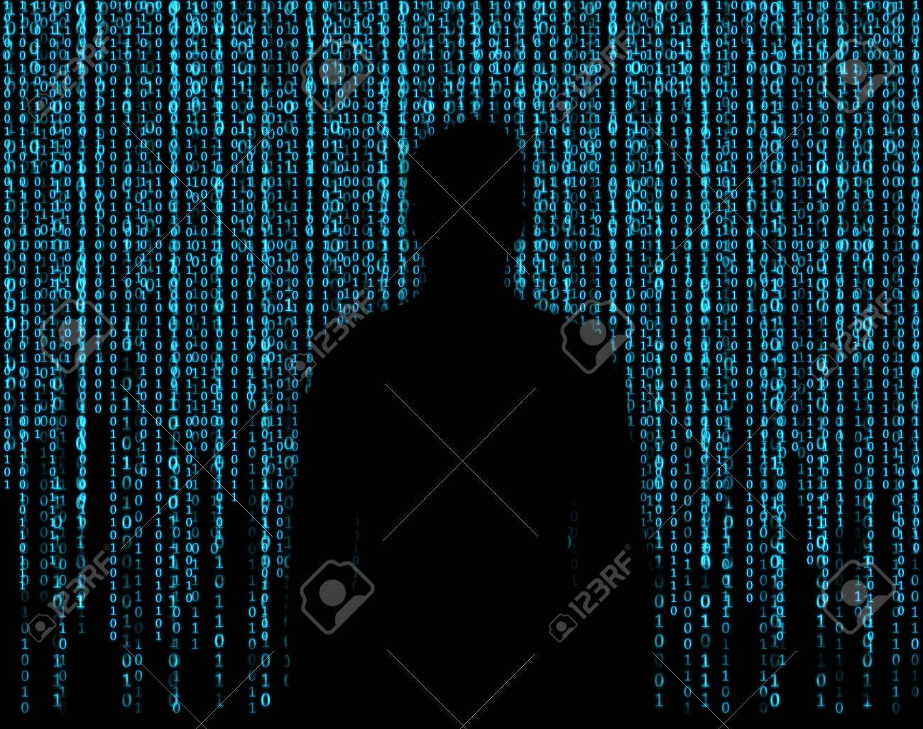 silhouette businessman who is appeared through the matrix background - 36189790