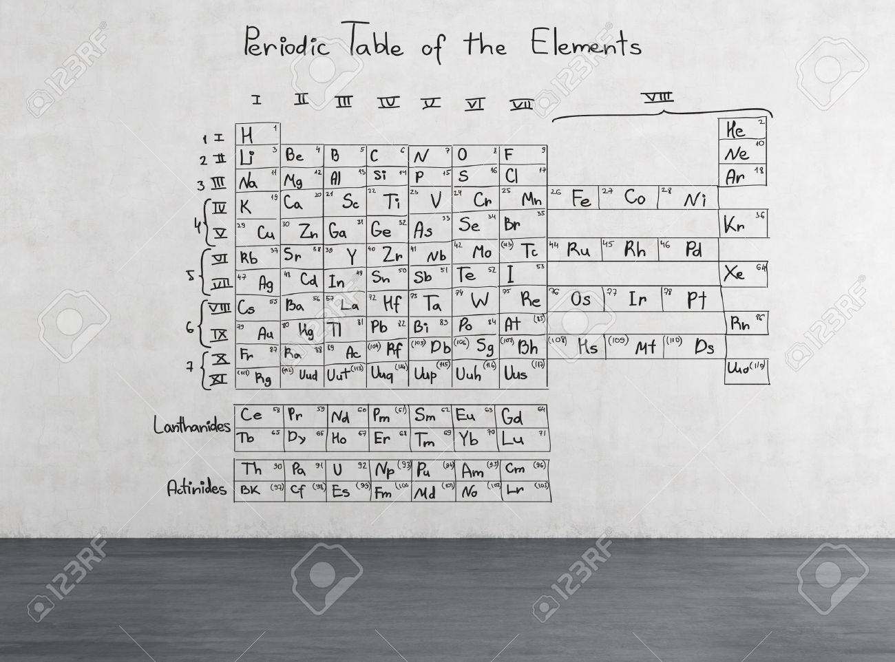 Periodic table of the elements drawing on wall stock photo periodic table of the elements drawing on wall stock photo 36759980 urtaz Choice Image