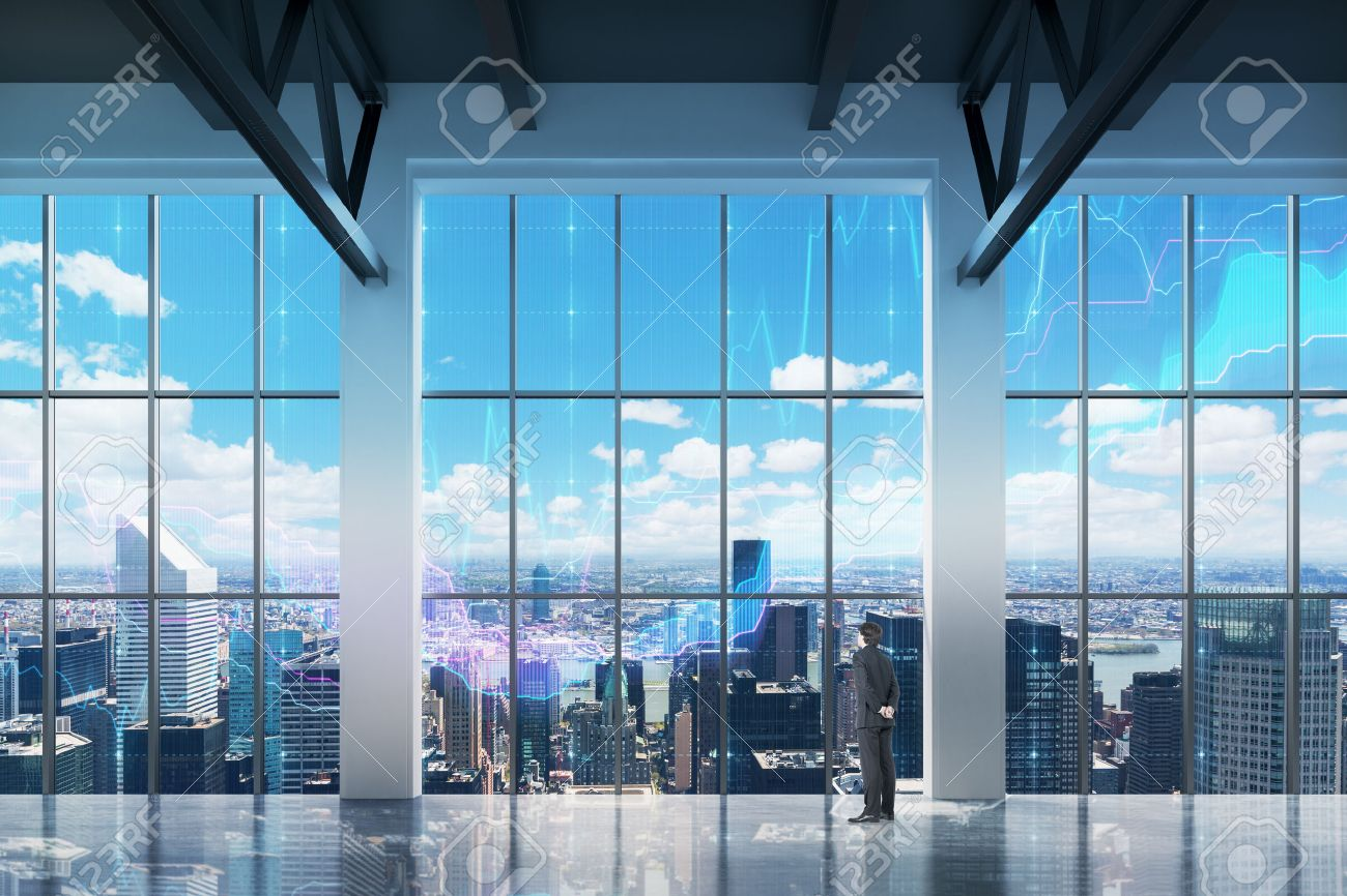 84c0e7184bd9 Businessman looking through the window in office. New York background Stock  Photo - 38326169