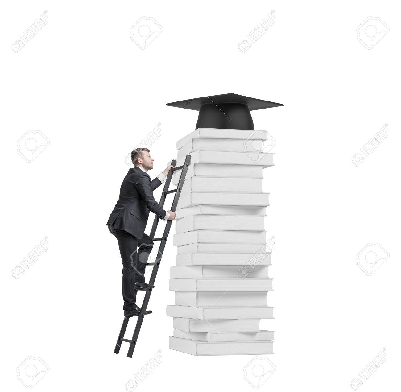 A Student Is Climbing Up To Get University Degree. Pile Of Books ... for Student Climbing Ladder  177nar