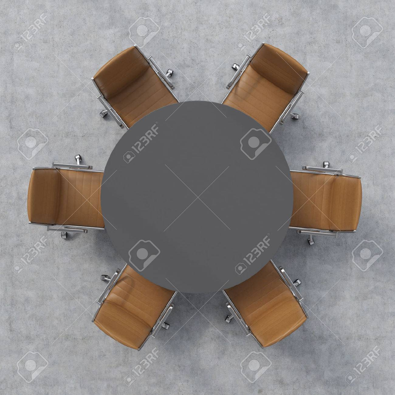Top View Of A Conference Room Dark Grey Round Table And Six