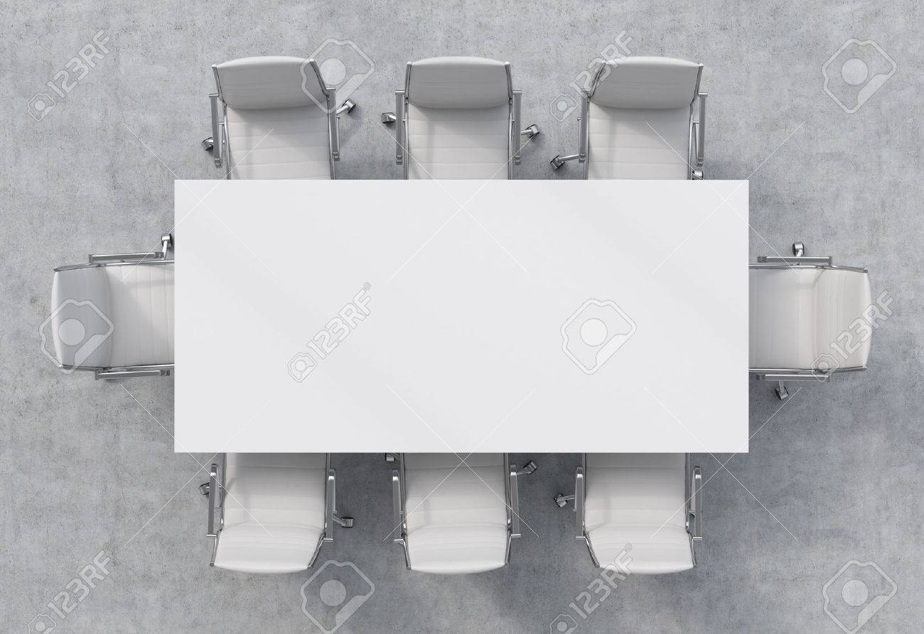 Top View Of A Conference Room. A White Rectangular Table And.. Stock ... for Rectangular Table Top View  289ifm