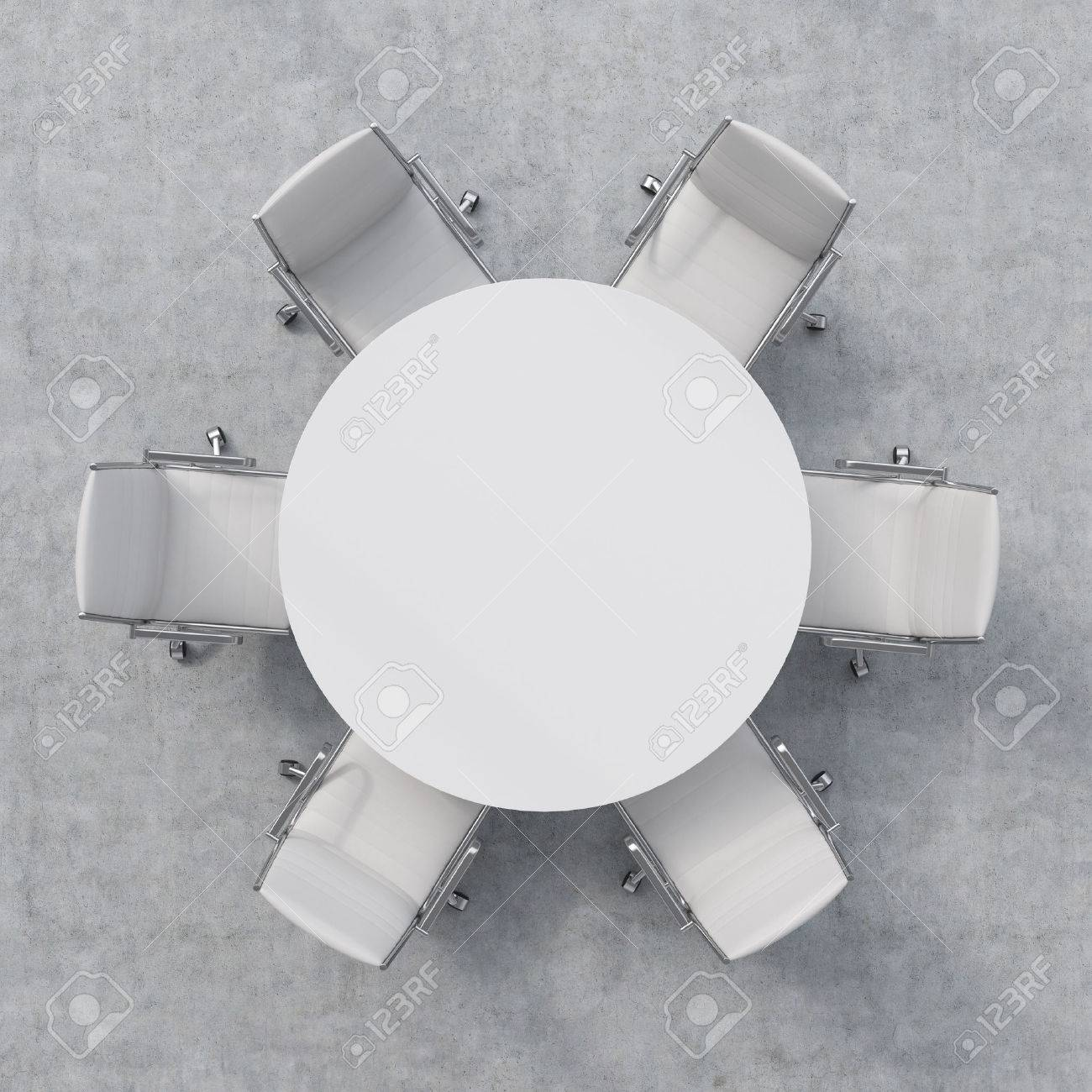 Top View Of A Conference Room. A White Round Table And Six Chairs ... for round table with chairs top view  157uhy