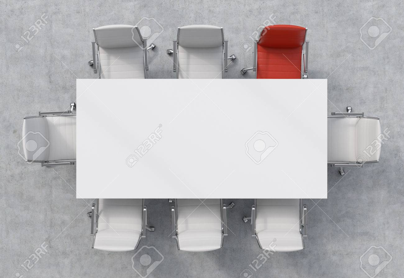 Stock Photo   Top View Of A 3d Rendering Conference Room. A White  Rectangular Table And Eight Chairs Around, One Of Them Is Red. Office  Interior.