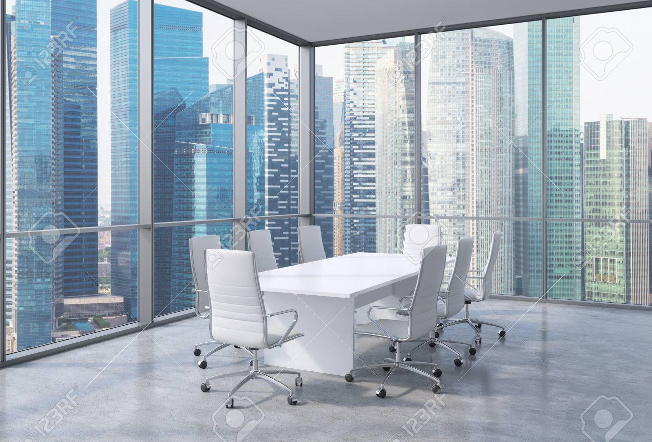 Panoramic Corner Conference Room In Modern Office Singaporean - Corner conference table
