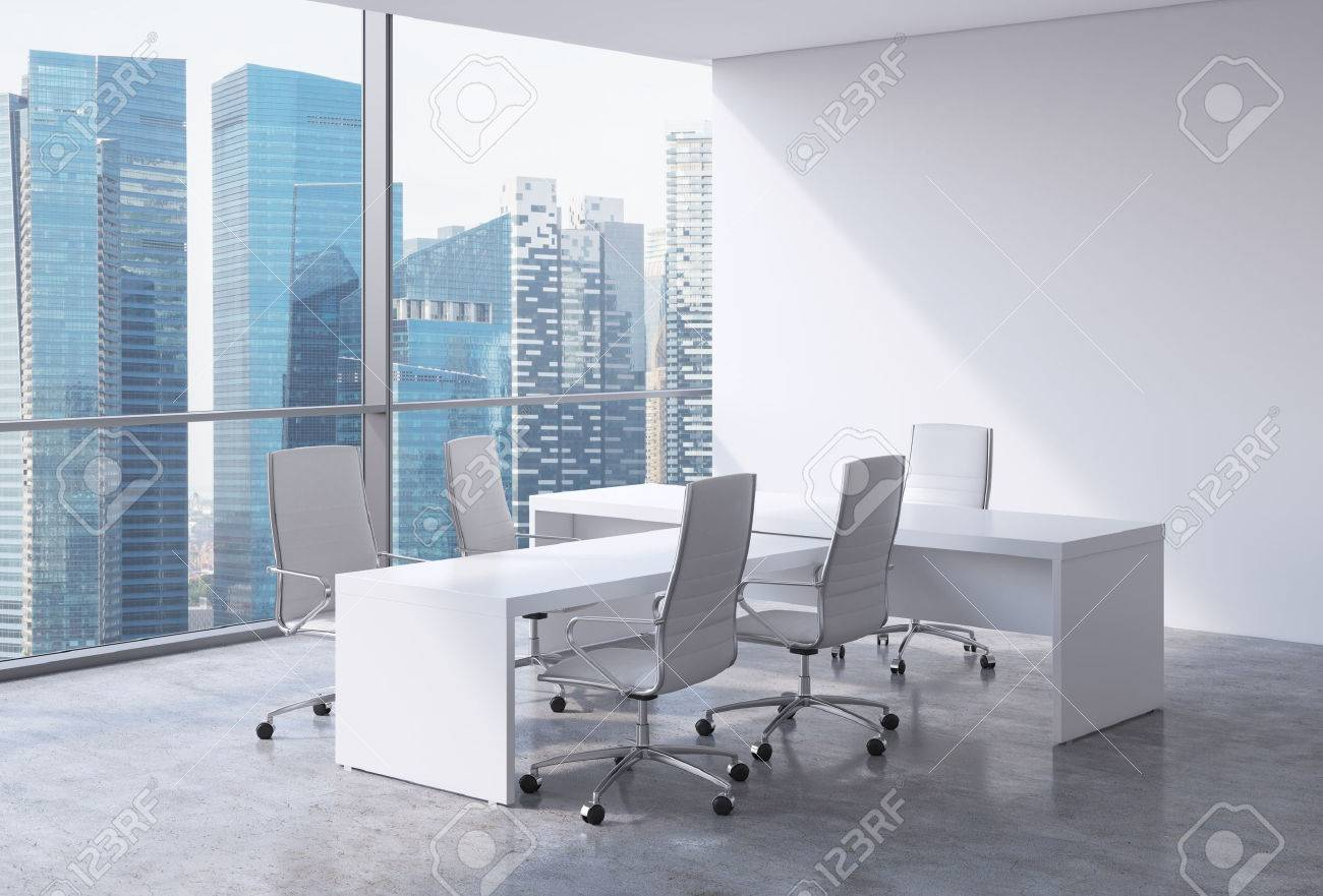 white office interior. Modern Office Interior With Huge Windows And Singapore Panoramic View. White Leather On The Chairs 3