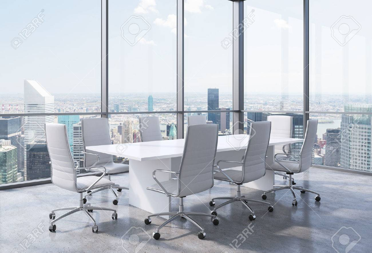 Panoramic Corner Conference Room In Modern Office In New York - Corner conference table