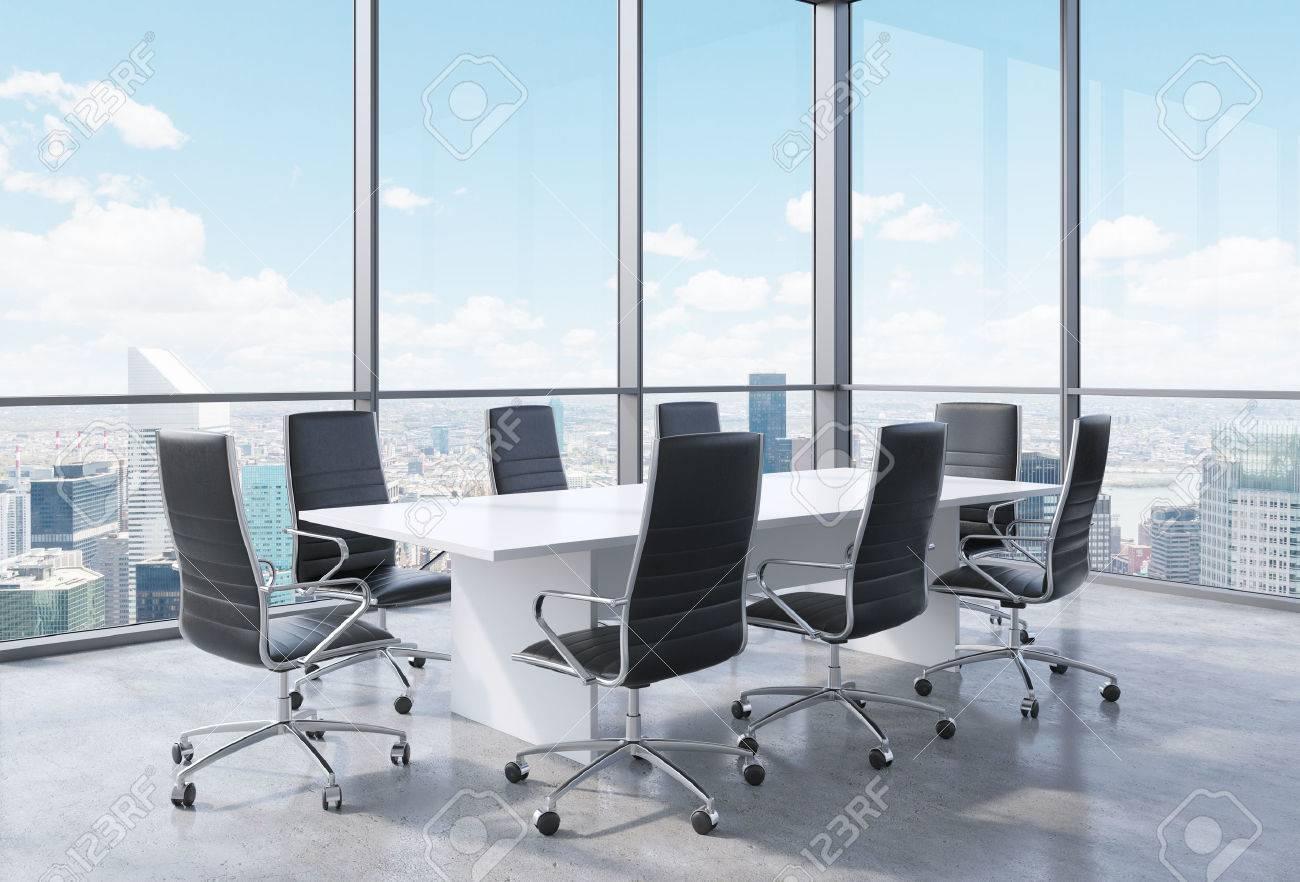 Panorama Konferenzraum Im Modernen Buro In New York City Schwarze Stuhle Und Ein Weisser Tisch 3d Rendering Lizenzfreie Fotos Bilder Und Stock Fotografie Image 42362845