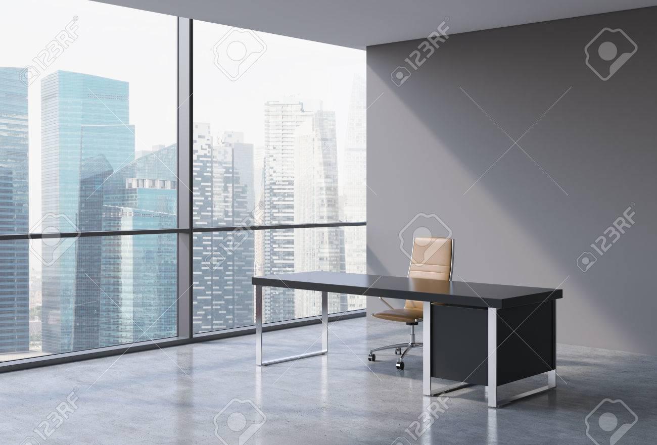 Ufficio Del Lavoro In Nero : Un posto di lavoro in un ufficio moderno panoramica singapore vista