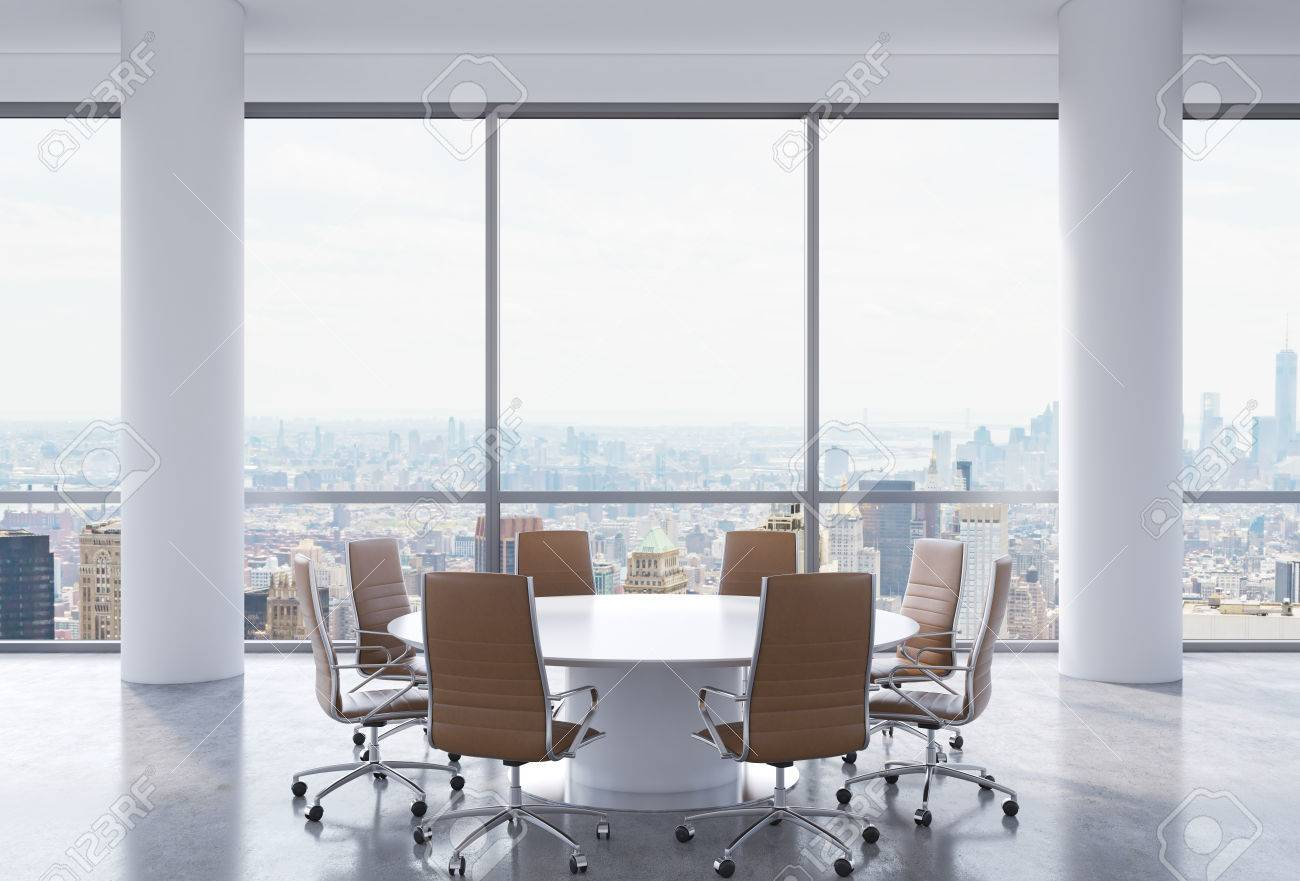 panoramic conference room in modern office new york city view