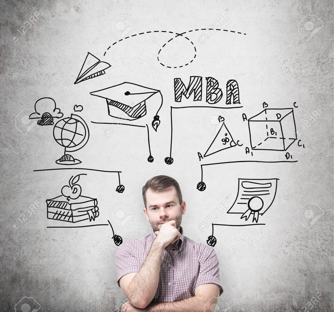 A Young Prosperous Man Is Thinking About MBA Degree. Educational.. Stock  Photo, Picture And Royalty Free Image. Image 43733411.