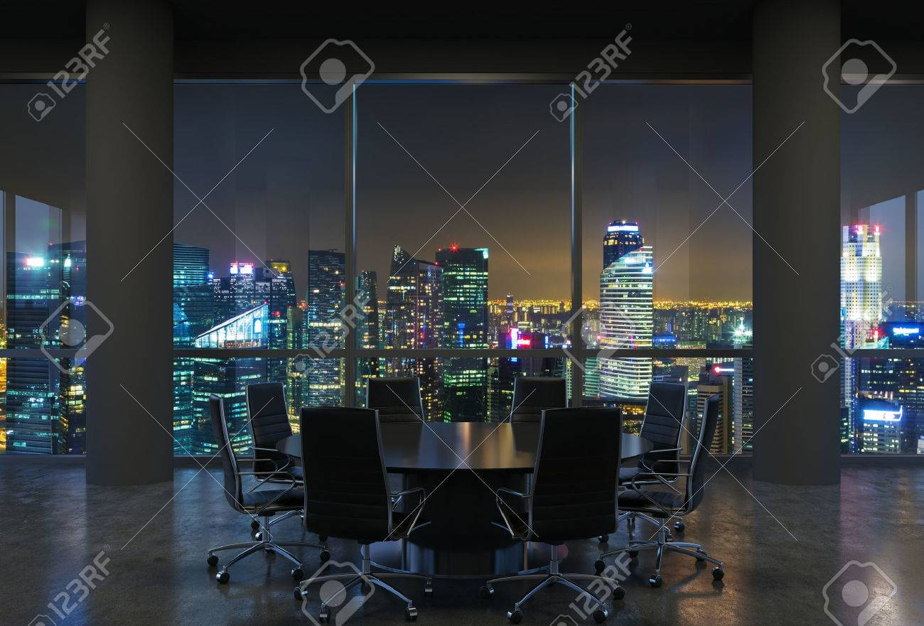 Panoramic conference room in modern office, cityscape of Singapore