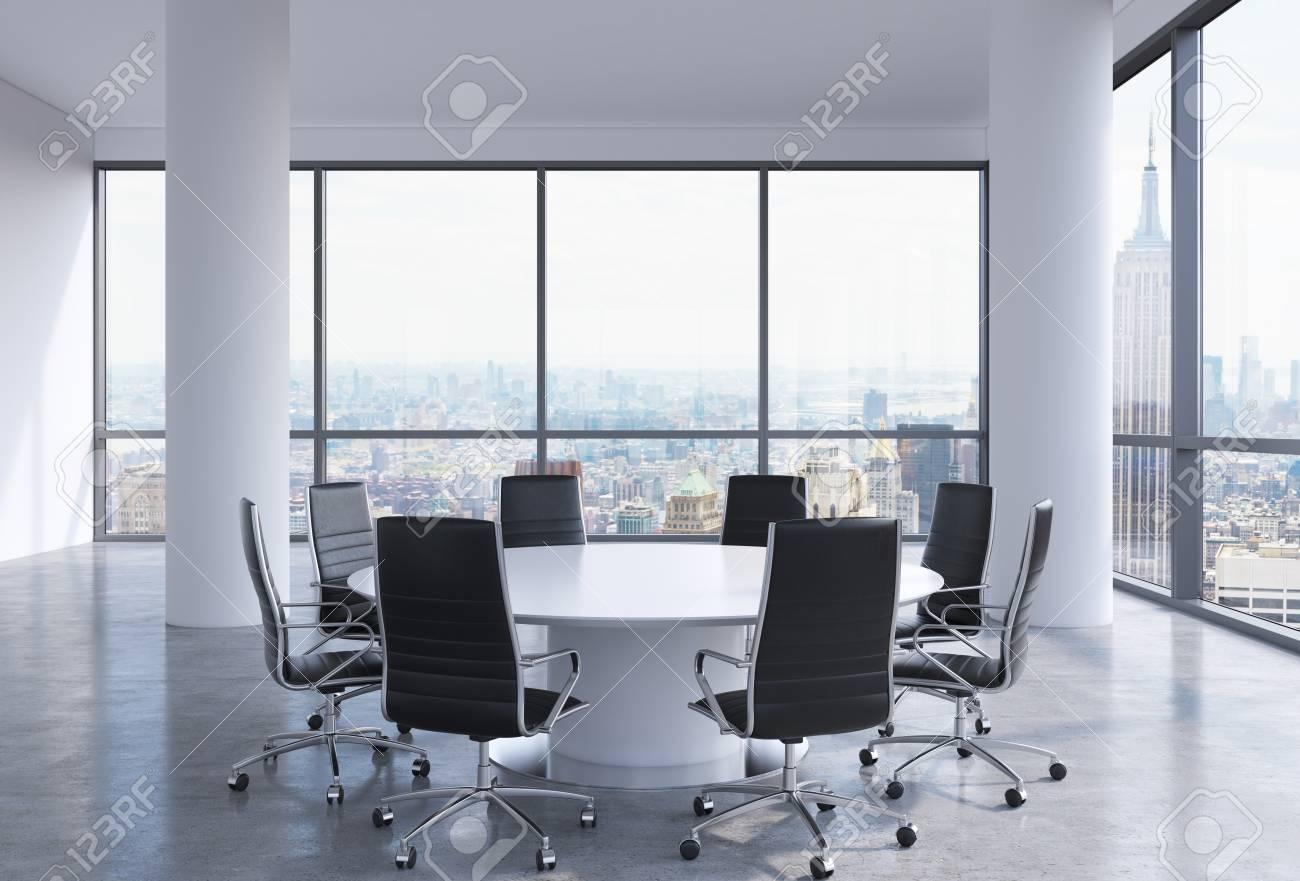 Una YorkSillas Ciudad Nueva La Y Oficina Negras Mesa Redonda BlancaRepresentación En 3d ModernaVista Conferencias Panorámicas Sala De lcFK31TJ