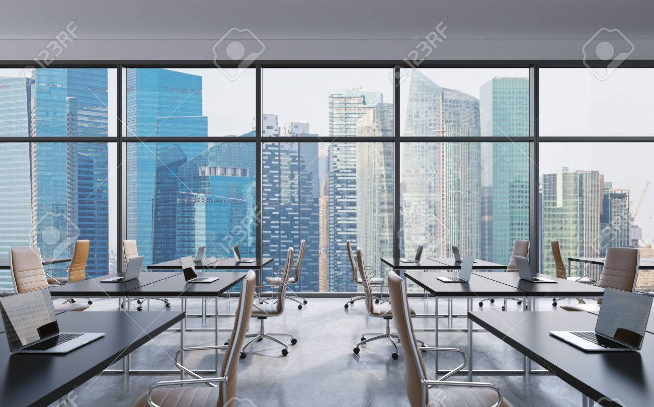 workplaces in a modern panoramic office singapore city view stock