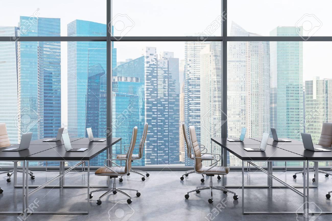 Arbeitsplätze in einem modernen panorama büro singapur blick auf