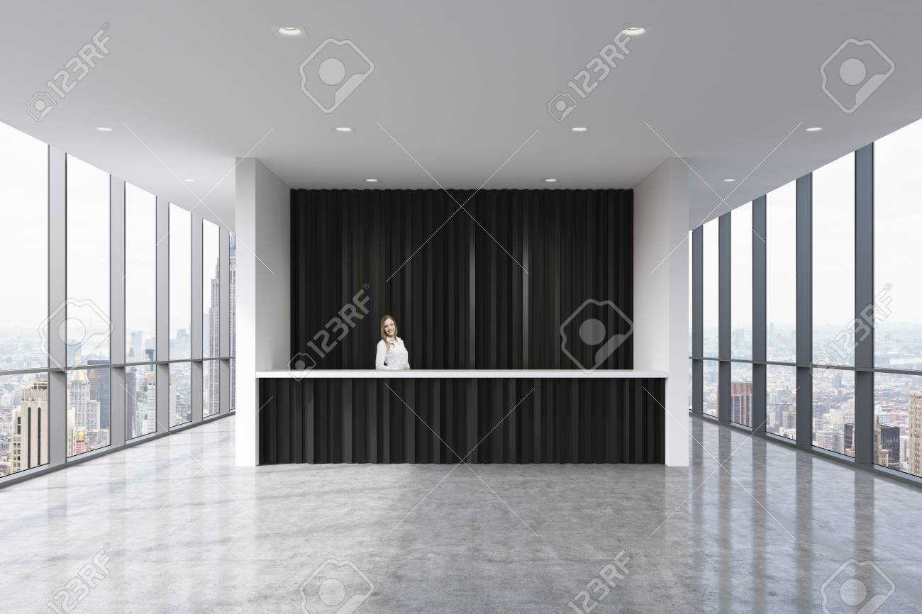beautiful bright office. A Reception Area In Modern Bright Clean Office With Beautiful Receptionist Formal Clothes I