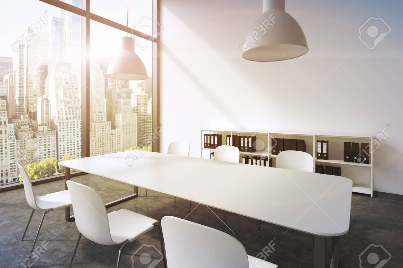 A Conference Room In A Modern Panoramic Office With New York