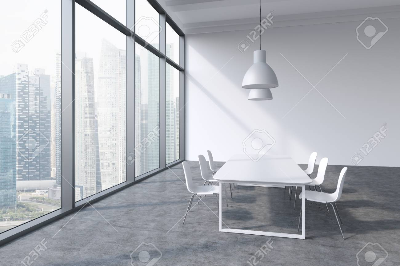 A conference room in a modern panoramic office with Singapore