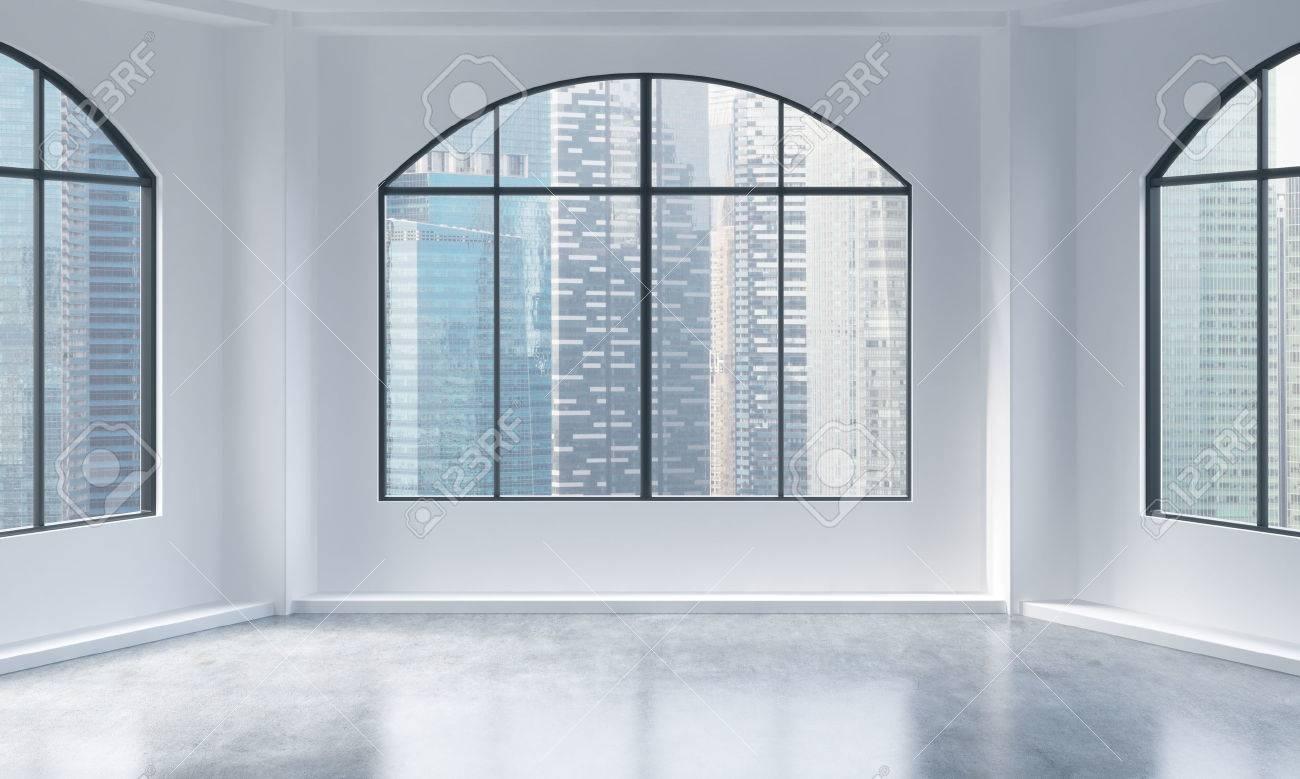 Immagini stock un moderno e luminoso vuoto e interni loft pulito