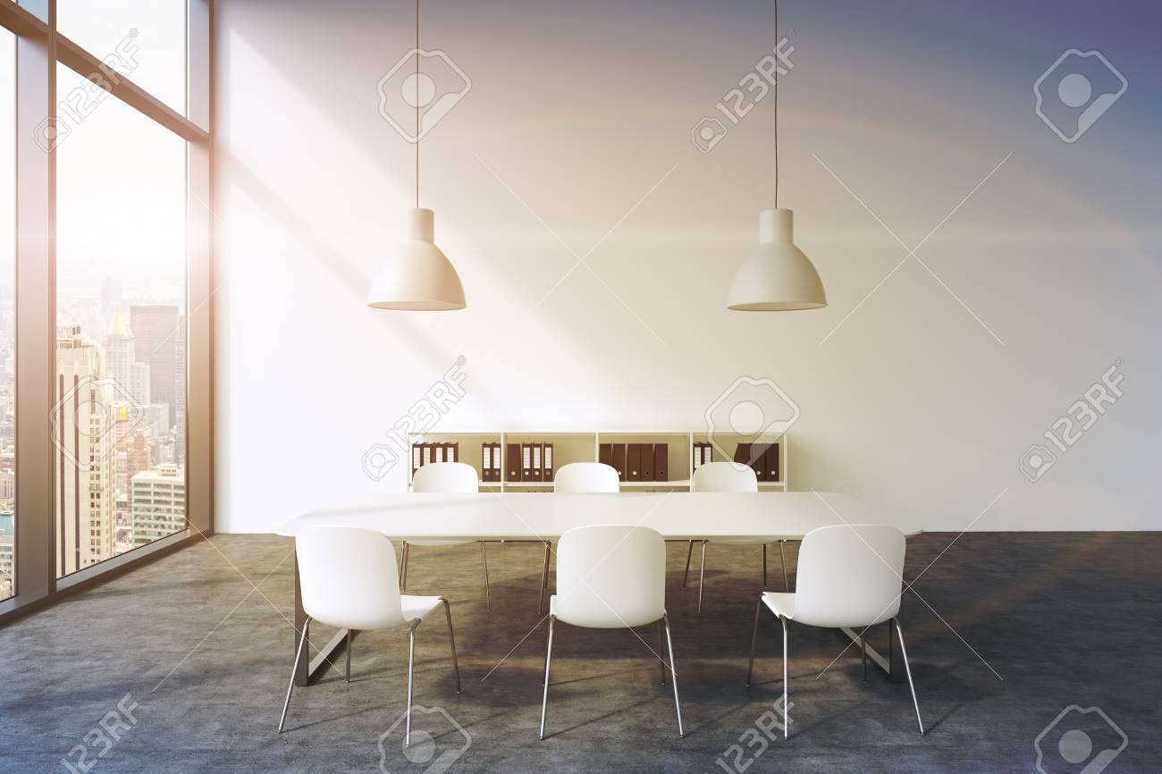 A Conference Room In A Modern Panoramic Office In New York White